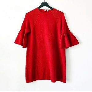 Moth | Anthro Red Chester Bell Sleeve Tunic L